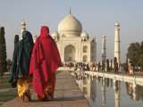 Women at Taj Mahal on River Yamuna, India Photographic Print by Claudia Adams