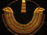 Gold and Fiance Beaded Necklace, Cairo, Egypt Photographic Print by Claudia Adams