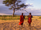 Two Maasai Morans Walking with Spears at Sunset, Amboseli National Park, Kenya Photographic Print by Alison Jones