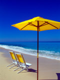 Yellow Chairs and Umbrella on Pristine Beach, Caribbean Photographic Print by Greg Johnston
