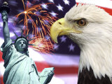 Eagle, Fireworks, Statue of Liberty Photographic Print by Bill Bachmann