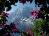 Positano and the Amalfi Coast through Bougainvilla Flowers, Italy Photographic Print by John & Lisa Merrill