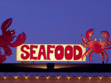 Seafood Sign at Night, Cape Breton, Nova Scotia, Canada Photographic Print by Walter Bibikow
