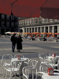 Cafe Tables in Plaza Mayor, Madrid, Spain Photographic Print by David Barnes