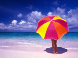 Female Holding a Colorful Beach Umbrella on Harbour Island, Bahamas Photographic Print by Greg Johnston