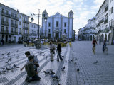 Praca do Giraldo and Outdoor Cafes, Evora, Portugal, Photographic Print