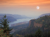Moon Hangs Over the Vista House, Crown Point, Columbia river Gorge, Oregon, USA Photographic Print by Janis Miglavs