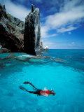 Snorkeler, Isla Tortuga, Galapagos Islands, Ecuador Photographic Print by Jack Stein Grove