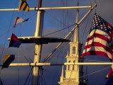 Trinity Church Behind Flags at Bowen's Wharf, Newport, Rhode Island, USA Fotografiskt tryck av Alexander Nesbitt