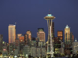 Seattle Skyline at Night, Washington, USA Photographic Print by Adam Jones