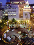 City Lights from Above Pioneer Courthouse Square in Downtown Portland, Oregon, USA Photographic Print by Janis Miglavs