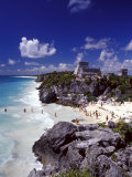 View of the Mayan site of Tulum, Yucatan, Mexico Photographic Print by Greg Johnston