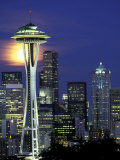 Space Needle and Full Moon, Seattle, Washington, USA Photographic Print by William Sutton