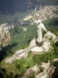 Aerial of Corcovado Christ Statue and Rio de Janeiro, Brazil Photographic Print by Bill Bachmann