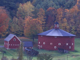 Red Round Barn in Autumn, East Barnet, Vermont, USA Photographic Print by Darrell Gulin