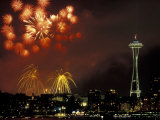 Fourth of July Fireworks from the Space Needle, Seattle, Washington, USA Photographic Print by Jamie & Judy Wild