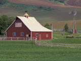 Barn and Windmill in Colfax, Palouse Region, Washington, USA Photographic Print by Adam Jones