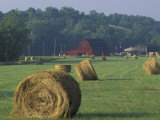 Hay Bales and Red Barn, Greenup, Kentucky, USA Photographic Print by Adam Jones