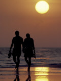Couple Walking on Beach at Sunset, Sarasota, Florida, USA Photographic Print by Maresa Pryor