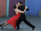 Dancing the Tango Amid Colorful Walls of La Bocoa Barrio, Buenos Aires, Argentina Photographic Print by Lin Alder