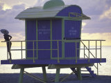 Lifeguard Station at Dusk, South Beach, Miami, Florida, USA Photographic Print by Robin Hill