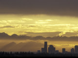 Seattle Skyline and Olympic Mountains, Washington, USA Photographic Print by John & Lisa Merrill