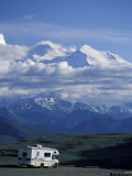 Mt. McKinley and RV, Denali National Park, Alaska, USA Photographic Print by Hugh Rose