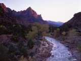 The Watchman Looms over the Virgin River at Sunset, Zion National Park, Utah, USA Photographic Print by Howie Garber