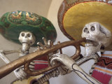 Day of the Dead, Lifesized Wooden Mariachis, Oaxaca, Mexico Photographic Print by Judith Haden