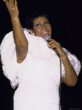 Singer Aretha Franklin Performing Premium Photographic Print by David Mcgough