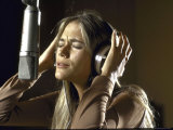 Actress Peggy Lipton in a Recording Studio Premium Photographic Print by Vernon Merritt III