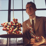 Pioneer Geneticist Biologist James Watson with Molecular Model of DNA Premium Photographic Print by Andreas Feininger