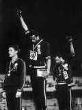 African American Track Star Tommie Smith, John Carlos After Winning Gold and Bronze Olympic Medal Premium Photographic Print by John Dominis