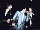 Musicians George Harrison, Bruce Springsteen and Mick Jagger Performing Together Premium Photographic Print by David Mcgough