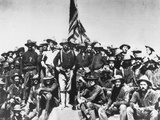 Teddy's Colts/Rough Riders, Standing with Col. Theodore Roosevelt on hill of Battle of San Juan Premium Photographic Print by William Dinwiddie