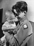 Army Sgt. Bill Mauldin, Happily Holding His Son Bruce Patrick on His 1st Day Home from the War Premium Photographic Print by Martha Holmes