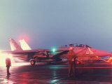 Aircraft Carrier Directing Fighter Aircraft in US Led Allied Desert Storm Gulf War Mission Premium Photographic Print by P. Cichonowicz