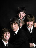 Members of Singing Group the Beatles: John Lennon, Paul McCartney, George Harrison and Ringo Starr Kunst på  metal af John Dominis