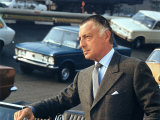 President of Fiat Gianni Agnelli Standing with Cars in Background, at Fiat Factory Premium Photographic Print by David Lees