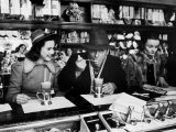 Deanna Durbin having Ice Cream Soda at Counter with Eddie Cantor During Visit to the City Premium Photographic Print by Alfred Eisenstaedt