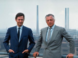 President of Fiat Gianni Agnelli Standing with Brother, Umberto Agnelli Premium Photographic Print by David Lees