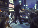 Presidential Candidate Robert Kennedy Standing on Back of Convertible Car While Campaigning 写真プリント : ビル・エッピリッジ