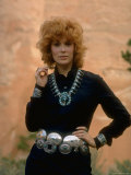 Actress Jill St. John Wearing Plethora of Turquoise Jewelry, Made by Navajao Indians Premium Photographic Print by Michael Mauney
