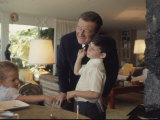 Actor John Wayne at Home with His Son Ethan and Daughter Premium Photographic Print by John Dominis