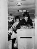 Members of the Rolling Stones Checking Their Instruments Before a Concert at Forest Hills Stadium Metal Print by Walter Daran