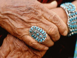 Hands of Navajo Woman Modeling Turquoise Bracelet and Ring Made by Native Americans Photographic Print by Michael Mauney