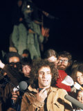 Yippie Leader Abbie Hoffman Speaking to Crowd During the Riot Conspiracy Trial, aka the Chicago 8 Premium Photographic Print by Lee Balterman
