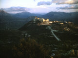 Apennine Mountains Surround Benedictine Abbey of Montecassino on Top of Hill Photographic Print by Jack Birns