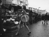 Art Director Jeanette Collins wears latest fashion while strolling through Portobello Road Photographic Print by Carlo Bavagnoli