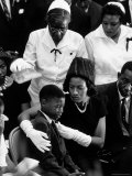 Widow of Slain Civil Rights Activist Medger Evers Comfort Her Grieving Son Darrell During Funeral Premium Photographic Print by John Loengard